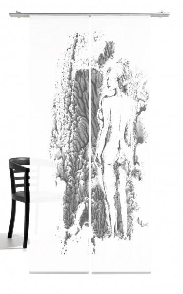 Venus Nature grey Schiebegardine 2-teiliges Set