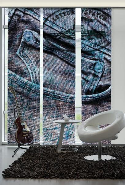 Jeans Blau Flächenvorhänge 3-teiliges Set