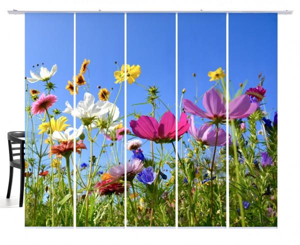 Fernwehkollektion Blumenwiese bunt Flächenvorhang 5-teiliges Set