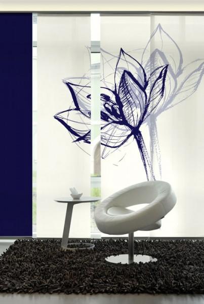 Blütenkopf Blau Schiebegardinen 3-teiliges Set