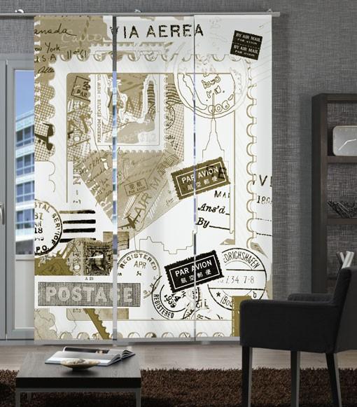 Postcard Sepia Flächenvorhänge 3-teiliges Set