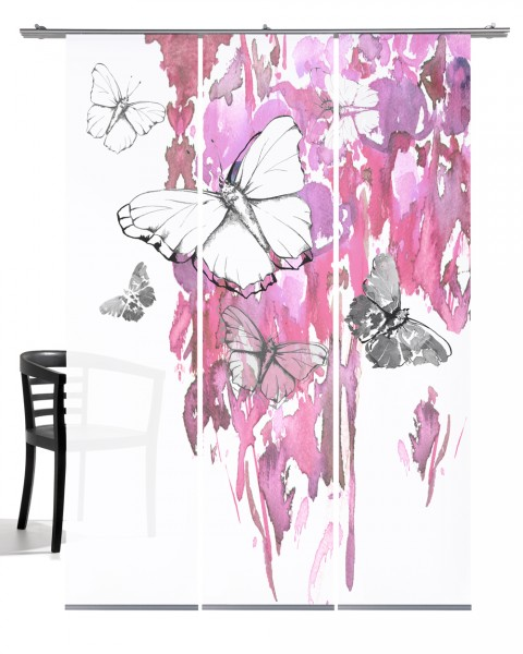 Butterfly rose Schiebevorhang 3-teiliges Set