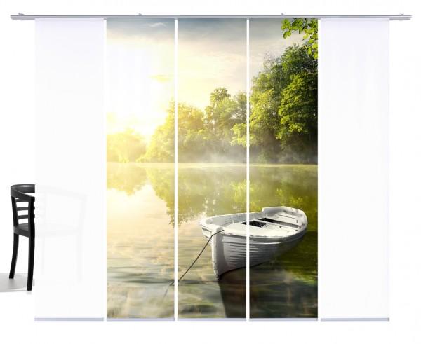 Fernwehkollektion See mit Boot grün gelb Fächengardine 5er Set 3x Motiv und 2x Weiß