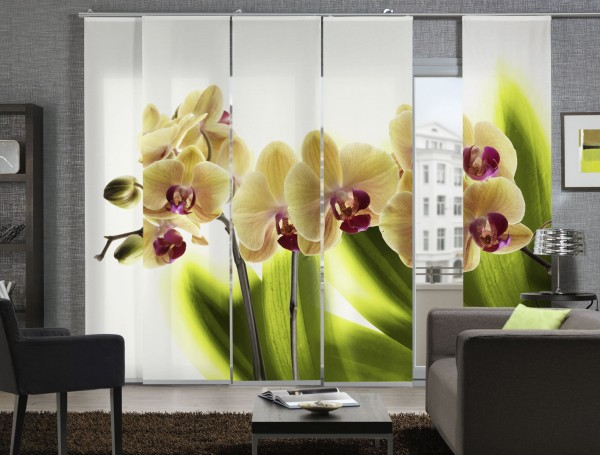 Orchidee big Schiebegardine 5-teiliges Set