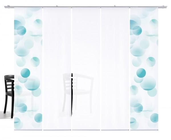 Kreise pastellmint Flächengardine 5-teilige Set aus 2x Motiv und 2x Weiß