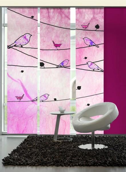 Crazy birds pink Schiebevorhänge 3-teiliges Set