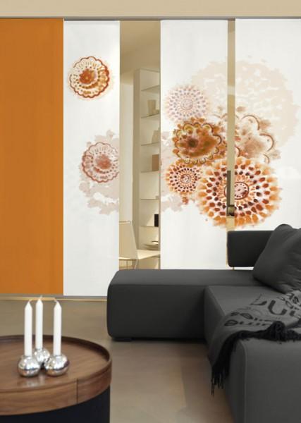 Batikblume Braun Schiebegardinen 3-teiliges Set