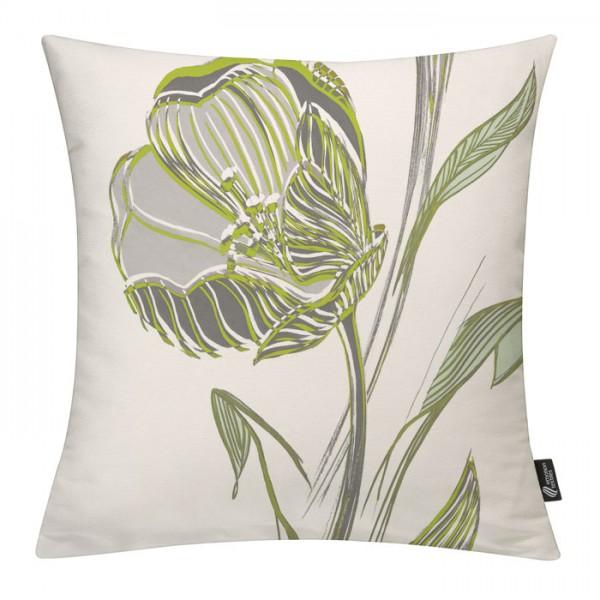 Strichblume Maigrün - Kissenhülle 50 x 50 cm