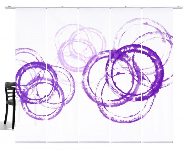 Aquarellkreise lila Schiebegardine5-teiliges Set