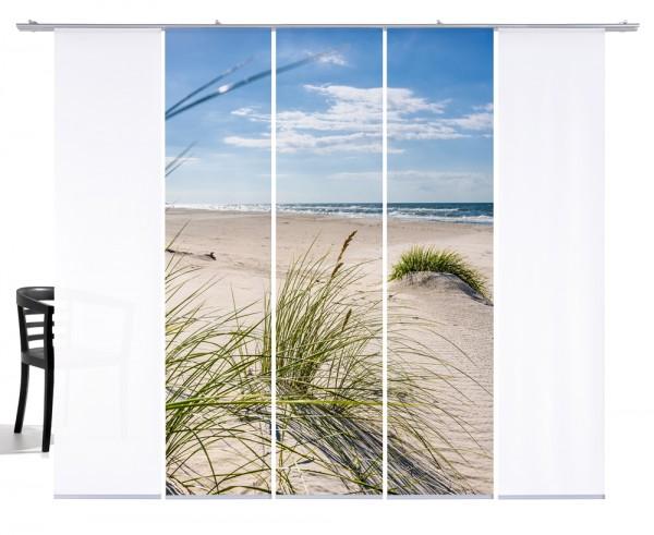 Fernwehkollektion Dünengras Ostsee beige,grünFlächengardine 5erSet, 3xMotiv und 2x Weiß