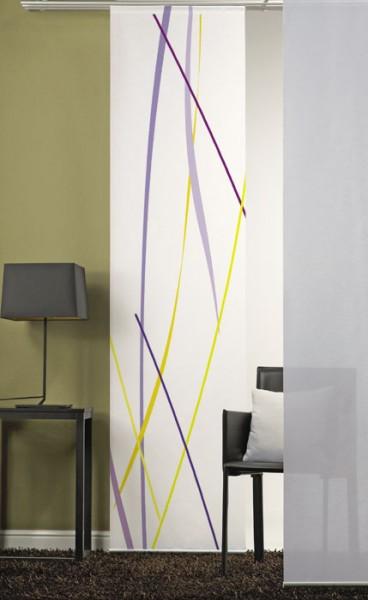 Linien Flieder Gelb Schiebevorhang 1-teilig