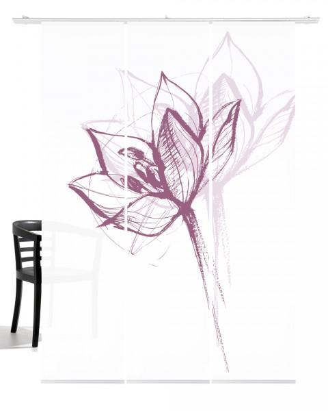 Blütenkopf altrosa Schiebegardine 3-teiliges Set