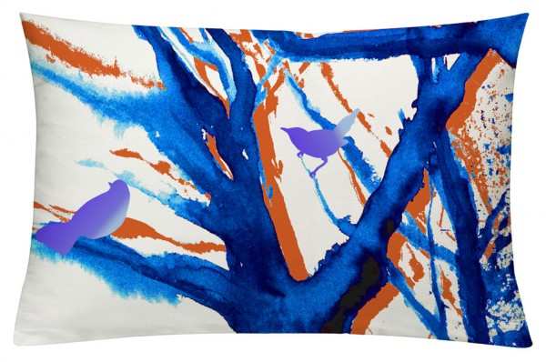 Baum der Vögel Blau - Kissenhülle 60 x 40 cm