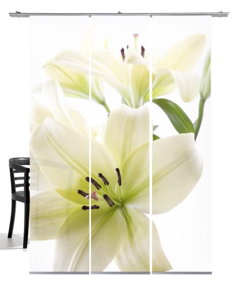 Lilie weiß grün Flächenvorhang 3-teiliges Set