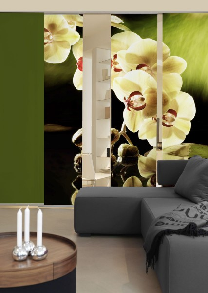 Orchidee Schiebegardinen 3-teiliges Set