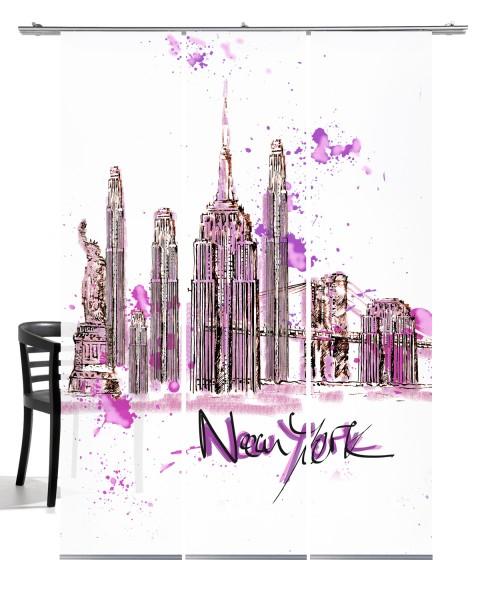 NY Skyline altrosa Flächenvorhang 3-teiliges Set