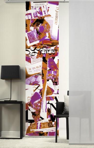 Collage PinkOrange Schiebevorhang 1-teilig