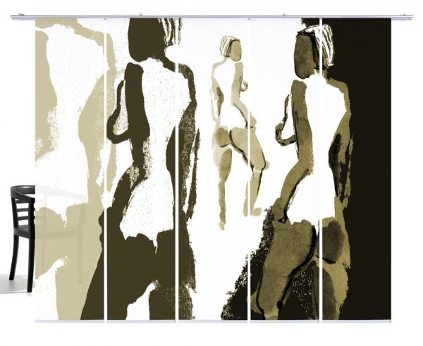Silhouetten Akt beige Flächenvorhang 5-teiliges Set