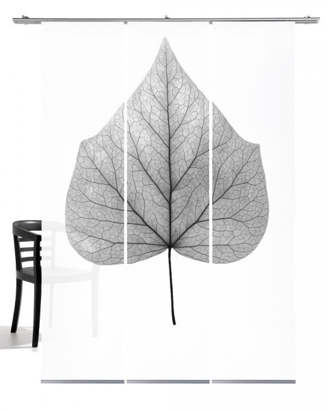 Lindenblatt grau Flächengardine 3- teiliges Set