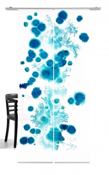 Genesis türkis blau Flächenvorhang 2-teiliges Set