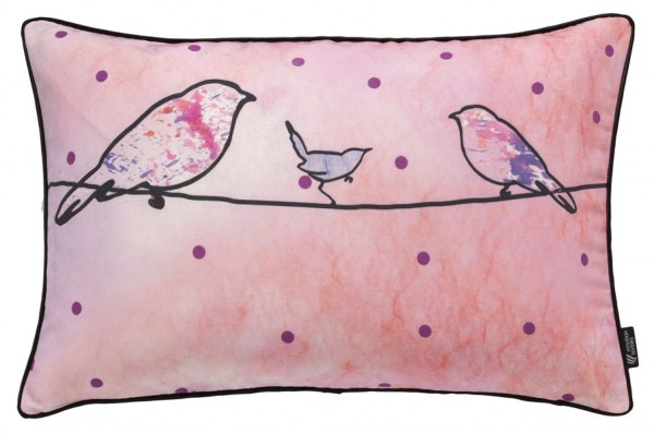 Crazy birds pink - Kissenhülle 60 x 40 cm