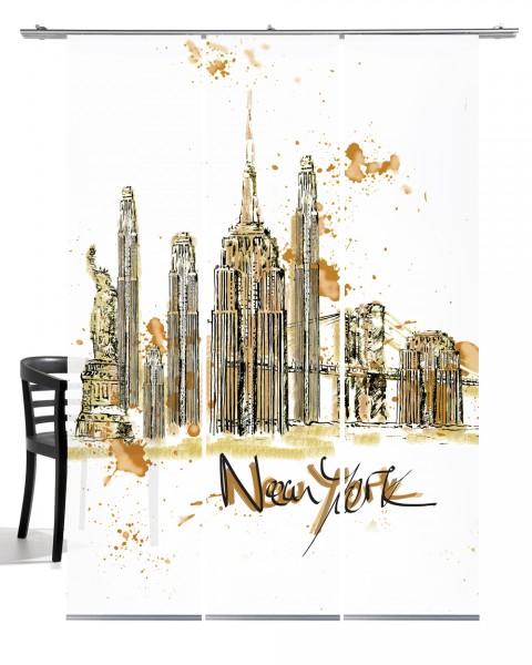 NY Skyline braun Flächengardine 3-teiliges Set