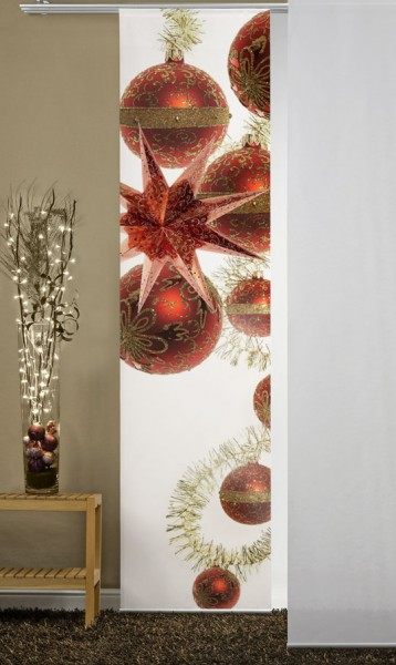 Christbaumkugeln Weihnachten Rot Flächenvorhang 1-teilig