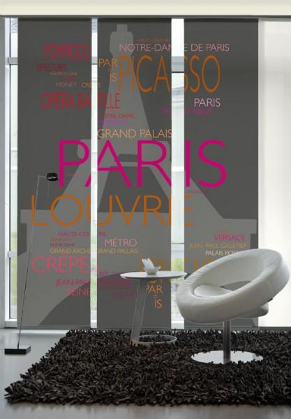 La Tour Eifel Pink-Orange Flächenvorhänge 3-teiliges Set