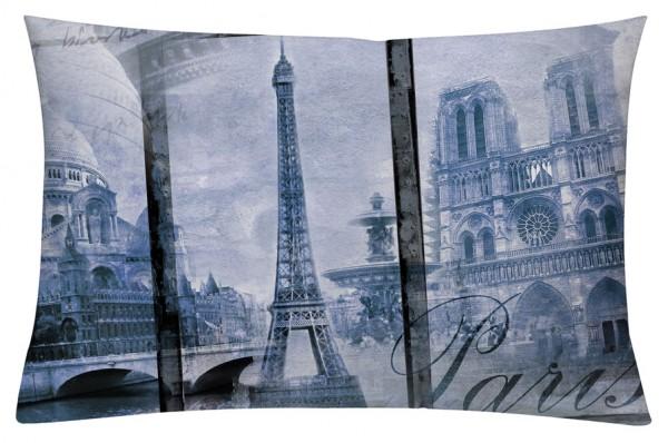 Alt Paris Blau - Kissenhülle 60 x 40 cm