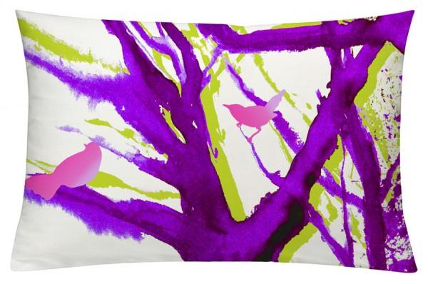 Baum der Vögel Lila - Kissenhülle 60 x 40 cm