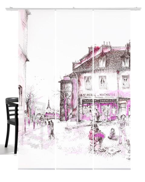 Montmartre Paris pink Schiebevorhang 3-teiliges Set