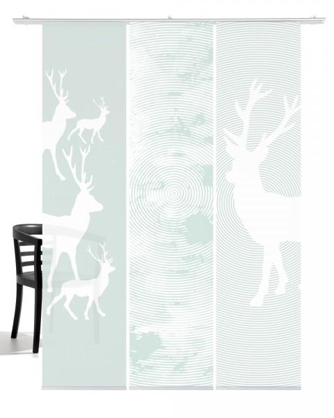 Weihnachten Hirsch Pastell-mint Schiebegardine 3-teiliges Set