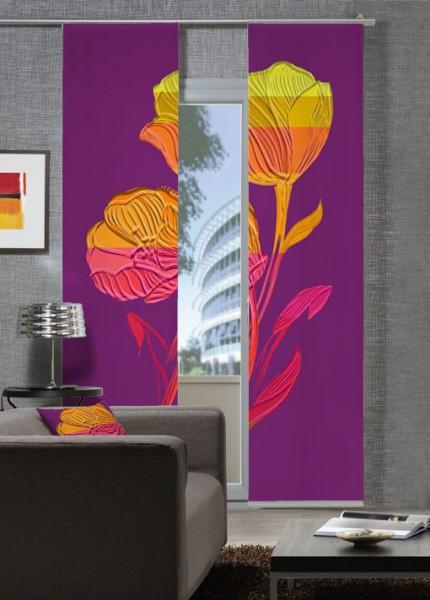 Reliefblume RotViolett Flächenvorhänge 2-teiliges Set