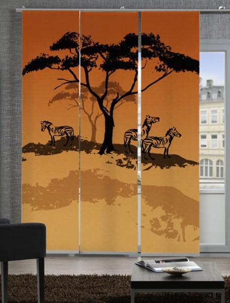 Afrika Zebra Rot Schiebegardinen 3-teiliges Set