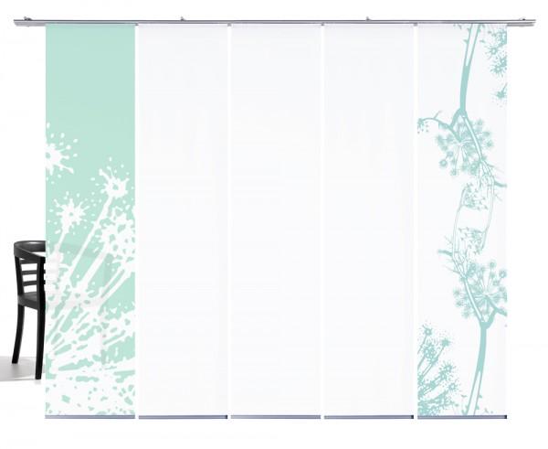 Fenchel mint Schiebegardine 5-teiliges Set mit weiß