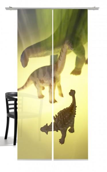 Dino Saurier beige grün Flächenvorhang 2-teiliges Set
