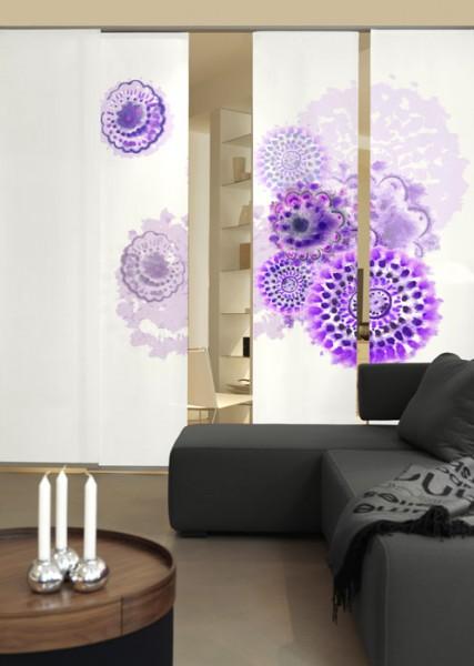 Batikblume Lila Schiebegardinen 3-teiliges Set