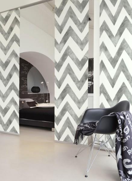 Zigzag Batik Grey Schiebegardinen 3-teiliges Set