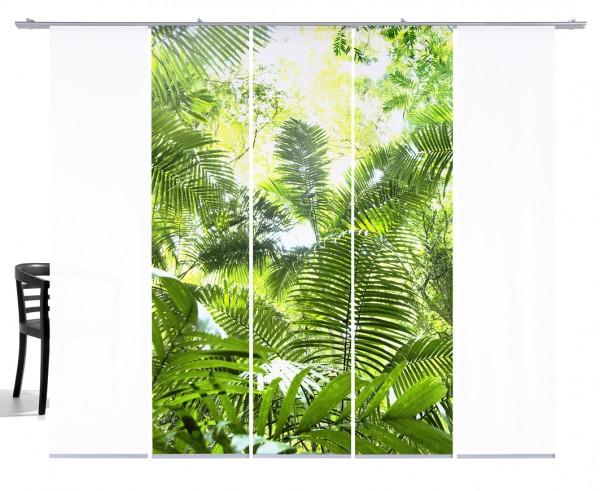 Fernwehkollektion Dschungel Grün Schiebegardine 5-teiliges Set mit 3x Motiv und 2xWeiß