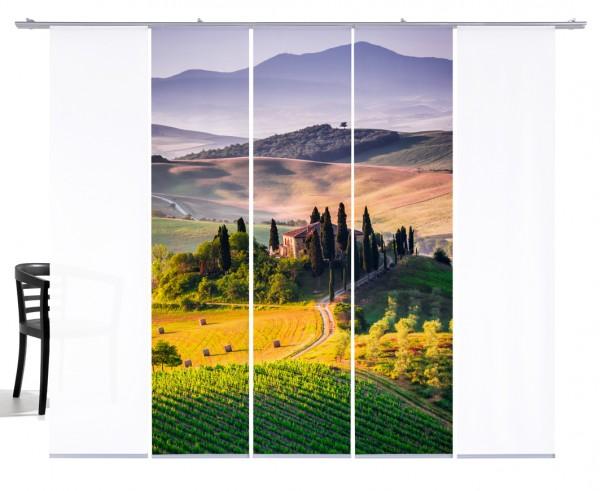 Fernwehkollektion Toskana bunt Schiebevorhang 5-teiliges Set 3x Motiv und 2x Weiß