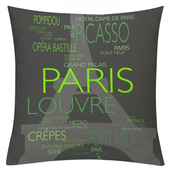 La Tour Eiffel Grün - Kissenhülle 50 x 50 cm