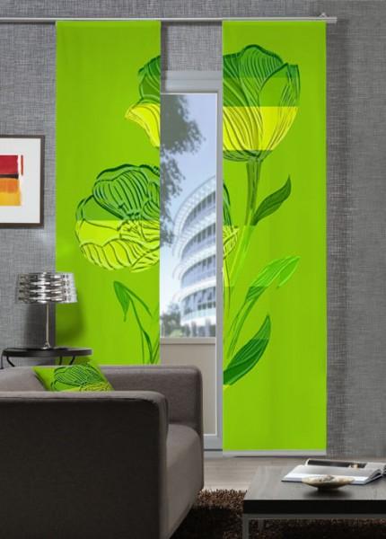 Reliefblume GelbGrün Flächenvorhänge 2-teiliges Set