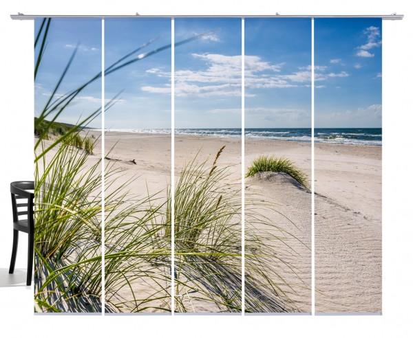 Fernwehkollektion Dünengras Landschaft Ostsee beige, blau, grün Schiebevorhang 5-teiliges Set