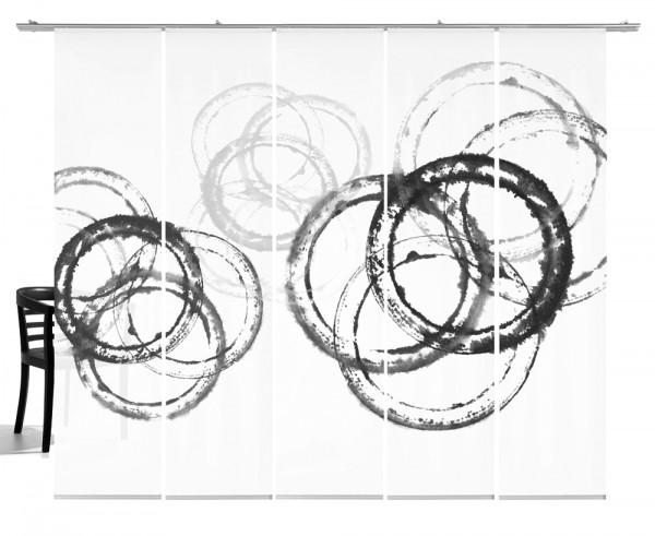 Aquarellkreise neutralgrau Schiebegardiene 5-teiliges Set