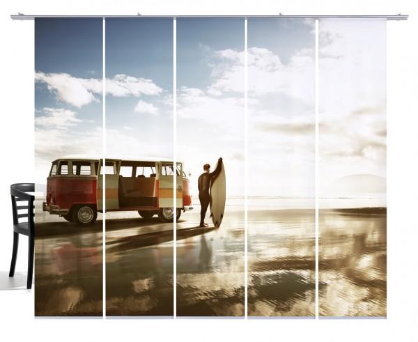 Fernwehkollektion Surfer, Strand mit VW Bus Bulli beige,blau,orangeFlächenvorhang 5-teiliges Set
