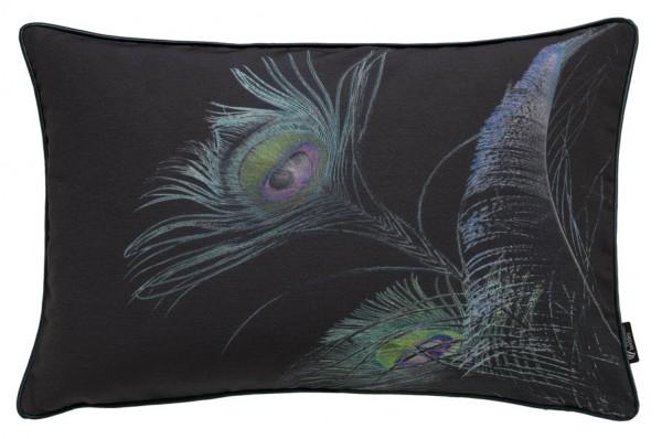 Pfaufeder Dunkel - Kissenhülle 60 x 40 cm