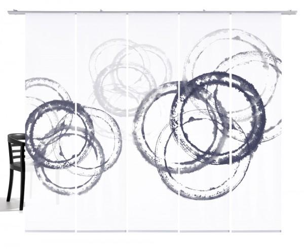 Aquarellkreise grau Flächenvorhang 5-teiliges Set