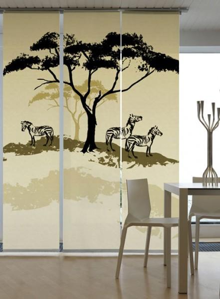 Afrika Zebra Hell Schiebegardinen 3-teiliges Set