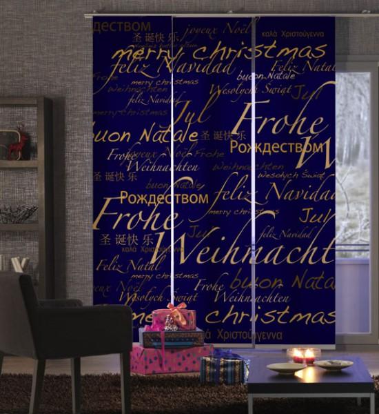 Weihnacht World Xmas Blau-Gold Flächenvorhang 3-teilig