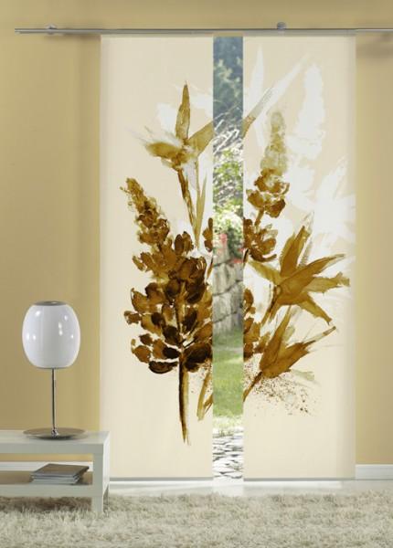 Lupinenaquarell Sepia Flächenvorhänge 2-teiliges Set